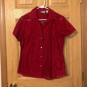 CHICO's Short Sleeve BURN OUT Blouse